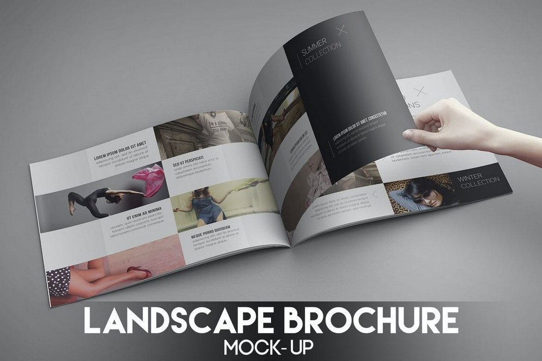 Page Turning Landscape Brochure Mockup
