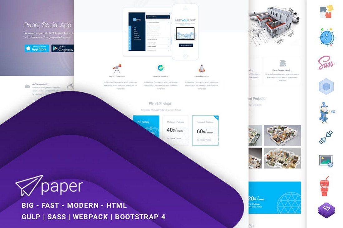 Paper-Multipurpose-Template 30+ Clean & Minimal Landing Page Templates design tips