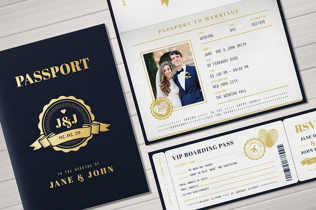 passport wedding program template - 50 wonderful wedding invitation card design samples