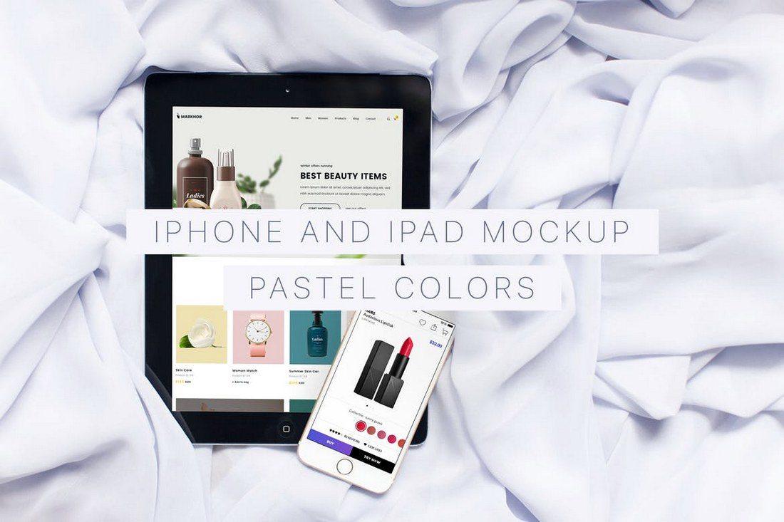 Pastel-Colors-iPhone-iPad-Mockups 100+ iPad Mockups: PSDs, Photos & Vectors design tips