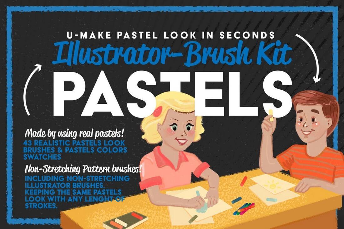 Pastels-Illustrator-Brush-Kit 30+ Best High-Quality Photoshop & Illustrator Brushes design tips