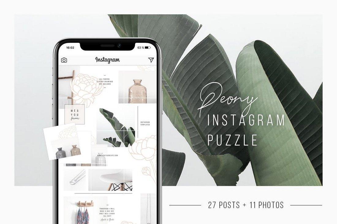 Peony Instagram Puzzle Template + 11 Photos