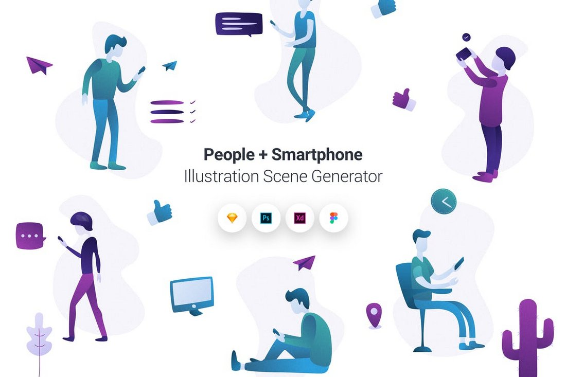 People & Smartphone Illustration Scene Generator