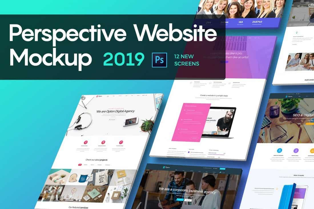 Perspective-Website-Mockup-2019 40+ Best Website PSD Mockups & Tools 2020 design tips