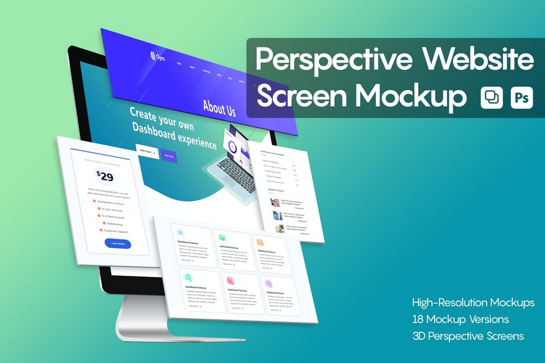 Perspective-Website-Screen-Mockup 40+ Best Website PSD Mockups & Tools 2020 design tips