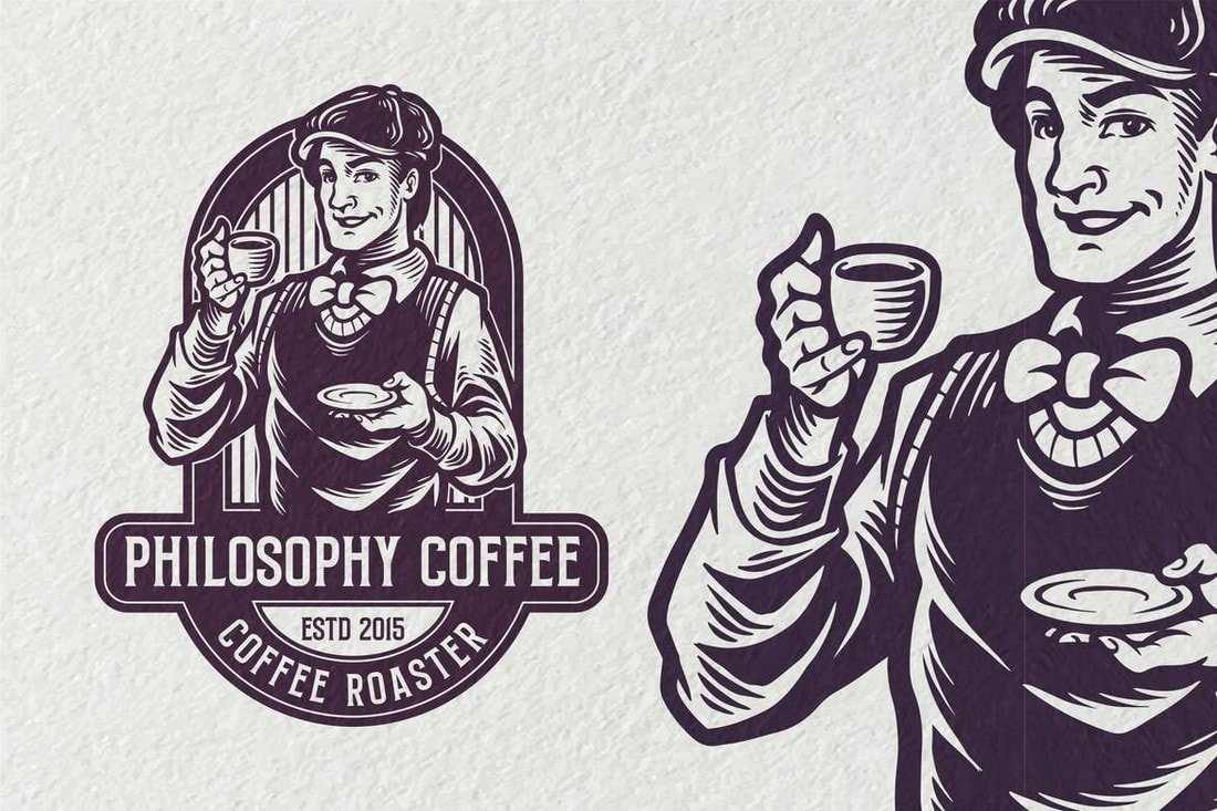 Philosophy-Coffee-Vintage-Logo-template 40+ Best Photoshop Logo Templates (PSD) design tips