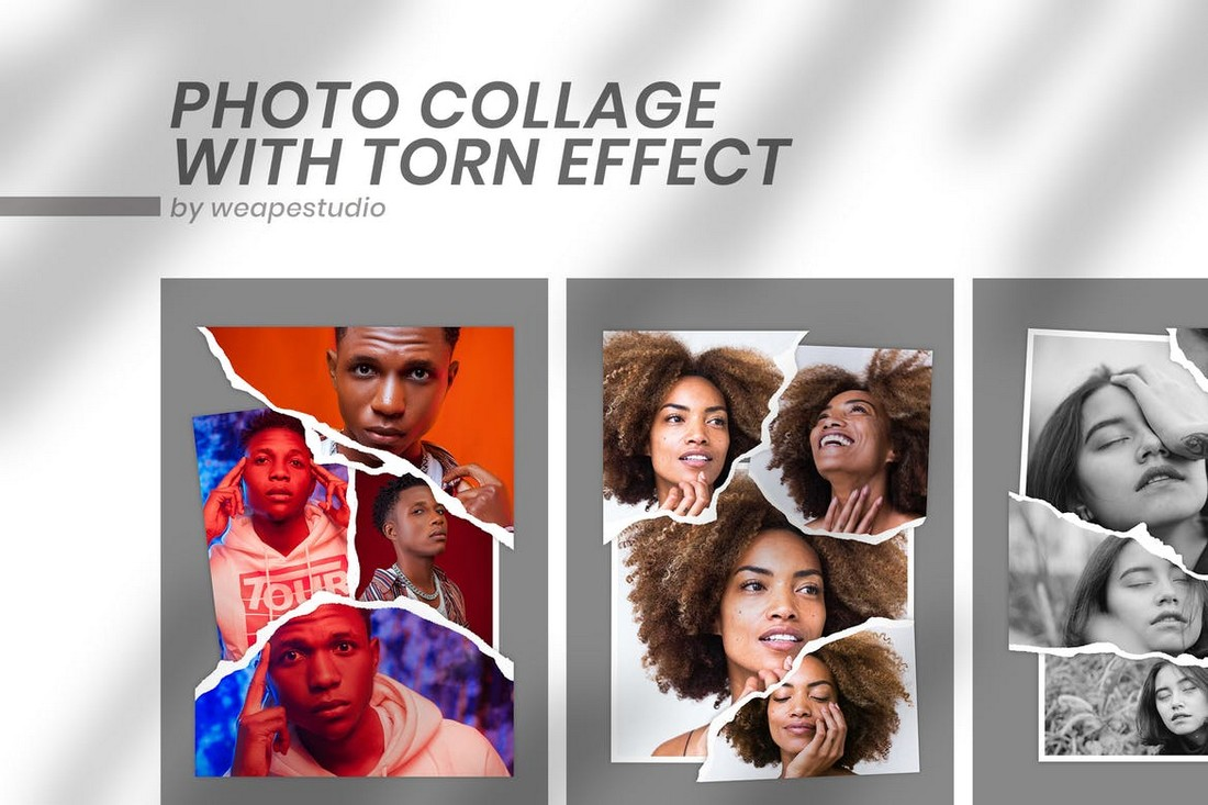 Photo Collage Template with Torn Effect