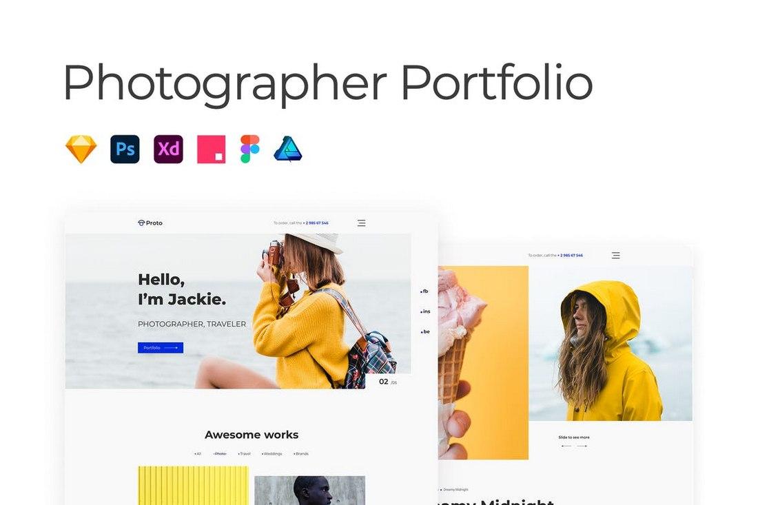 Photographer Portfolio - Adobe XD Website Template