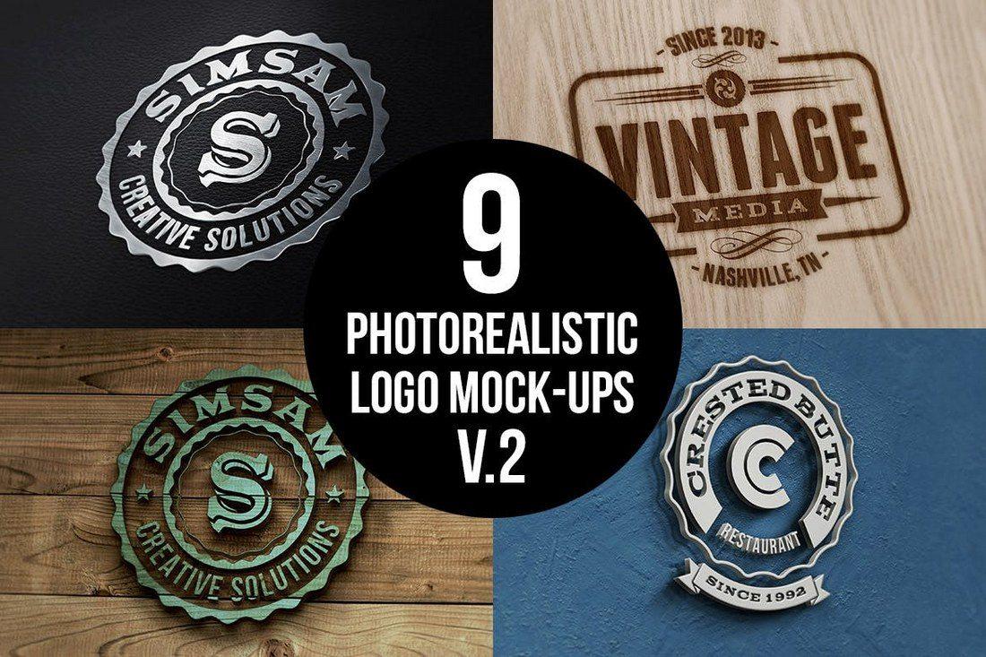 Photorealistic-Logo-Mock-Ups-Vol-2 20+ Best 3D Logo Mockup Templates design tips