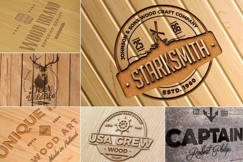 Photorealistic Wood Craft Logo Mockups