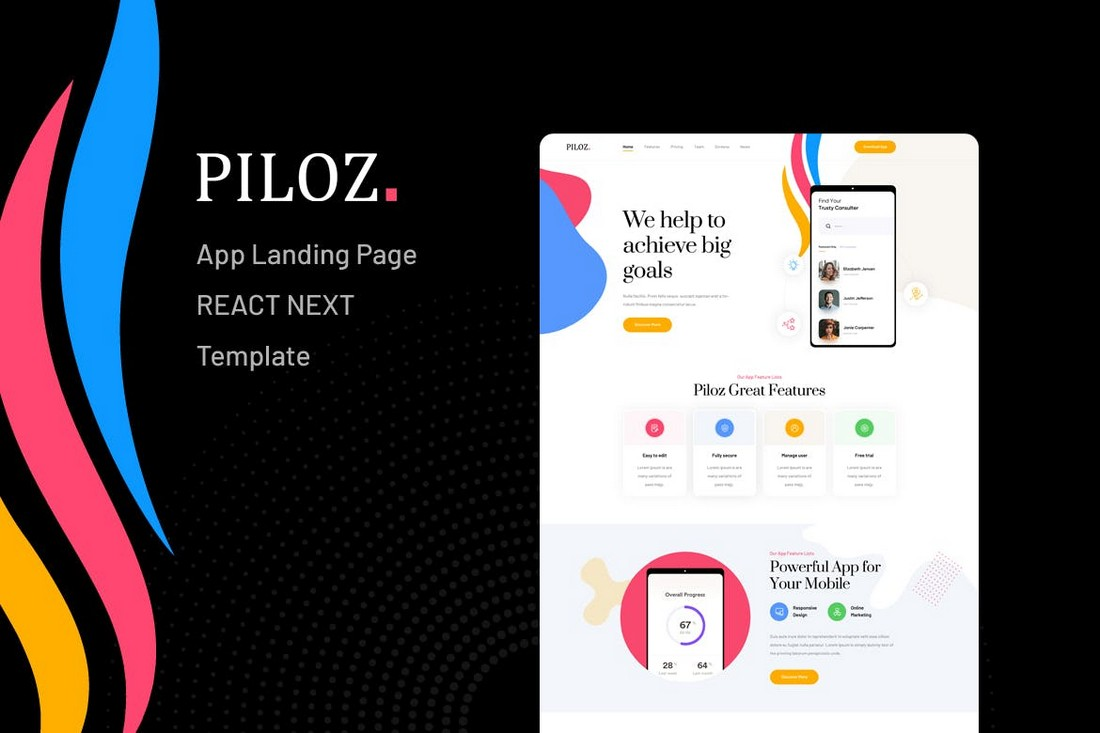 Piloz-React-Next-App-Landing-Page-Template 50+ Best App Landing Page Templates 2021 design tips