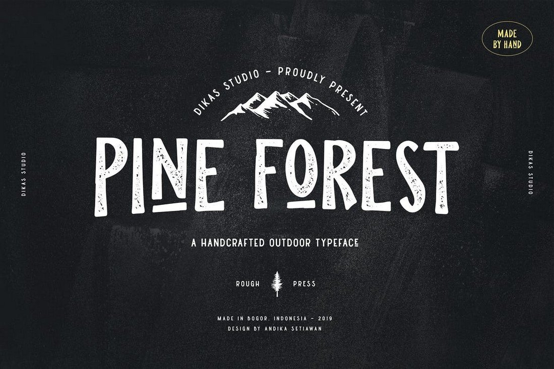 Pine Forest - Handcrafted T-Shirt Font