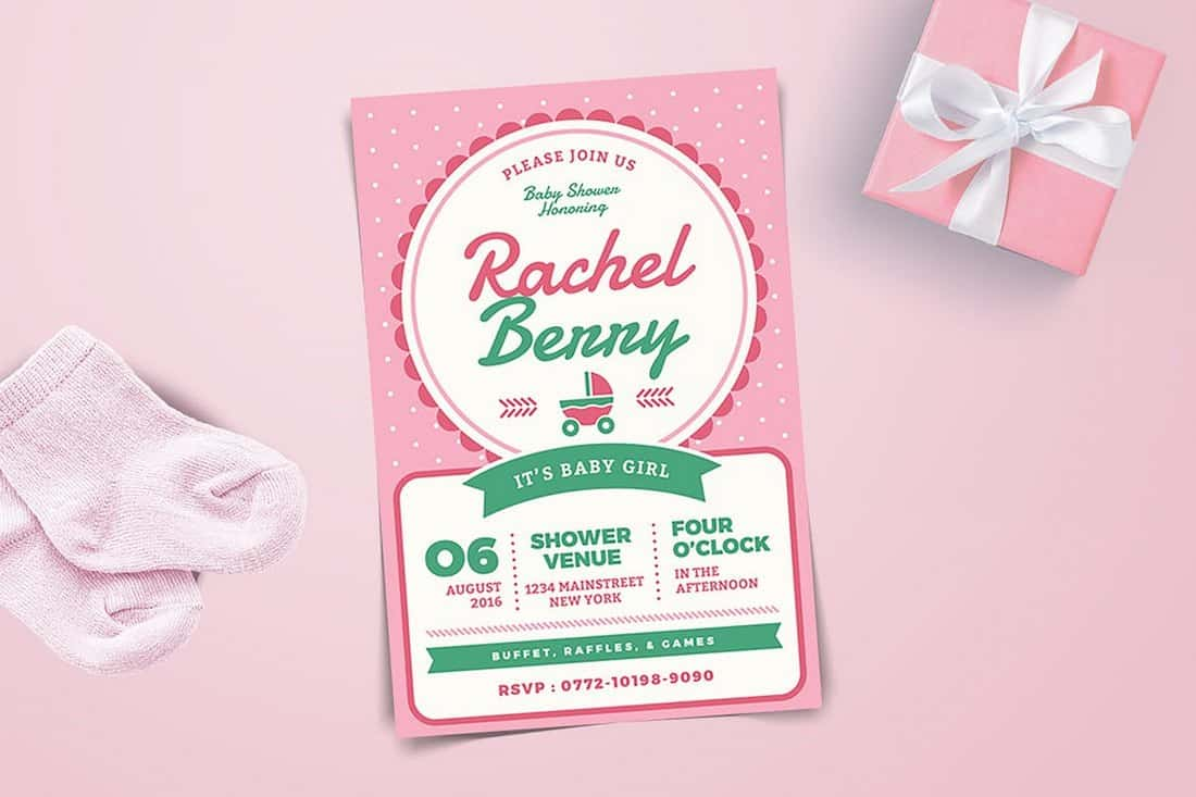 Pink Baby Shower Invitation Template