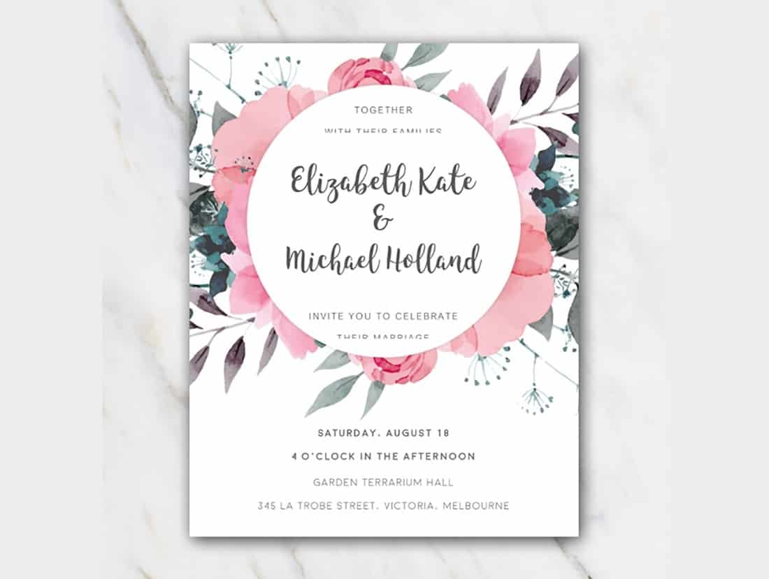 Pink Floral Wedding Invitation Template (Word)