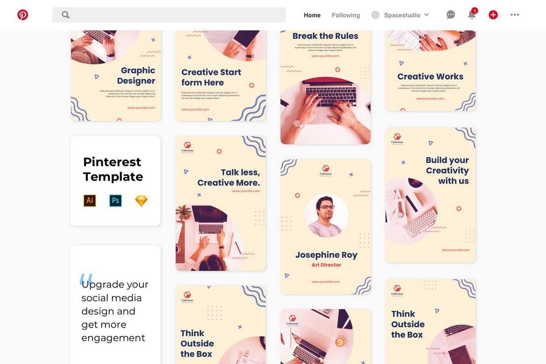 Pinterest Social Media Banner Templates