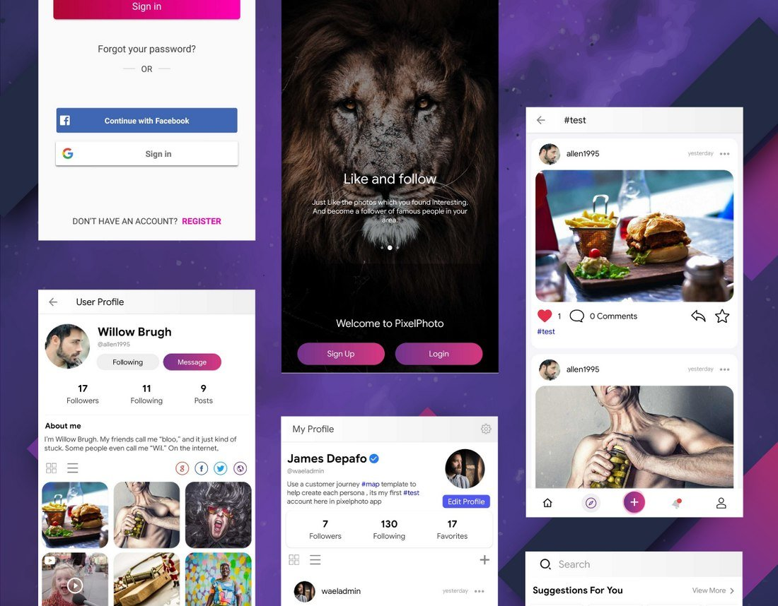 PixelPhoto 20+ Best Android App Templates (For Mobile Apps) 2021 design tips