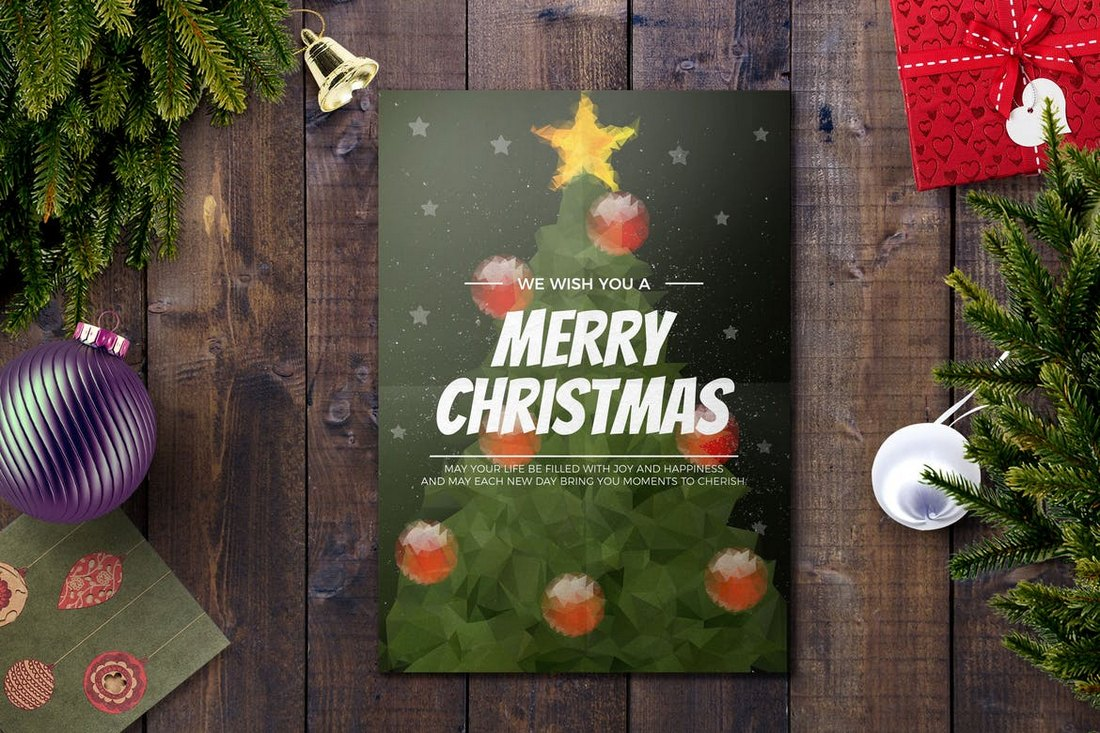 Pixelated Christmas Card Template