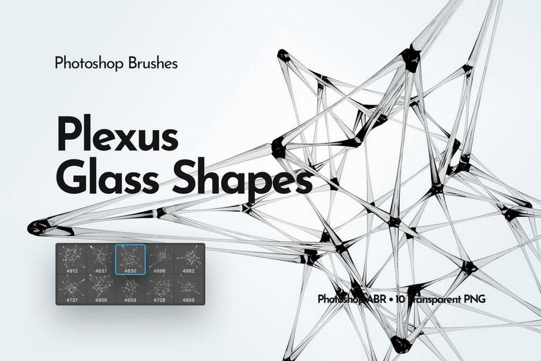 Plexus Glass Shapes Photoshop Brushes