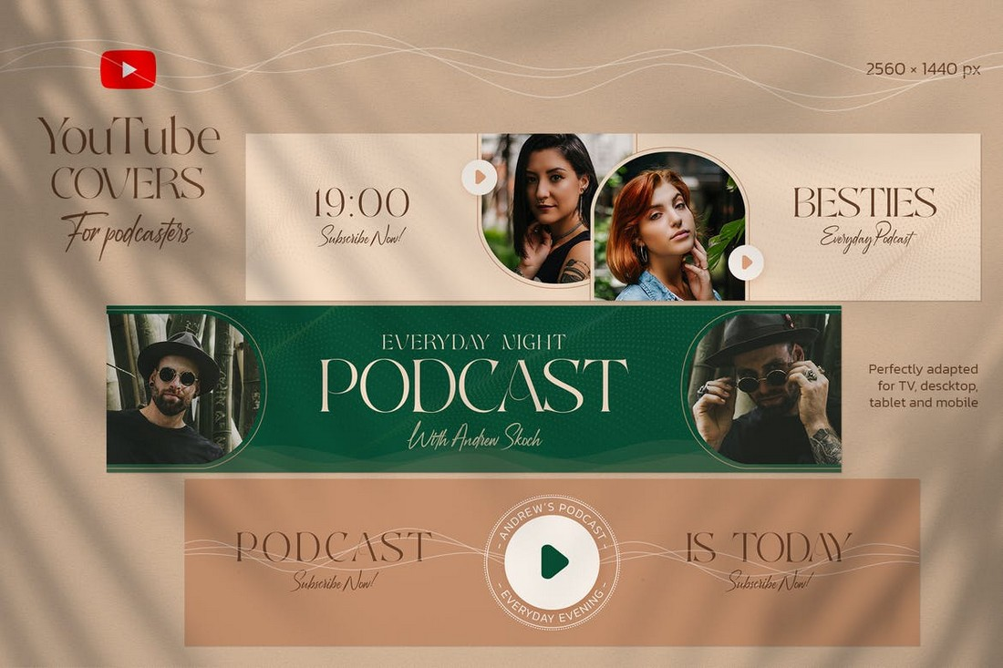 Podcast Youtube Cover Banner Templates