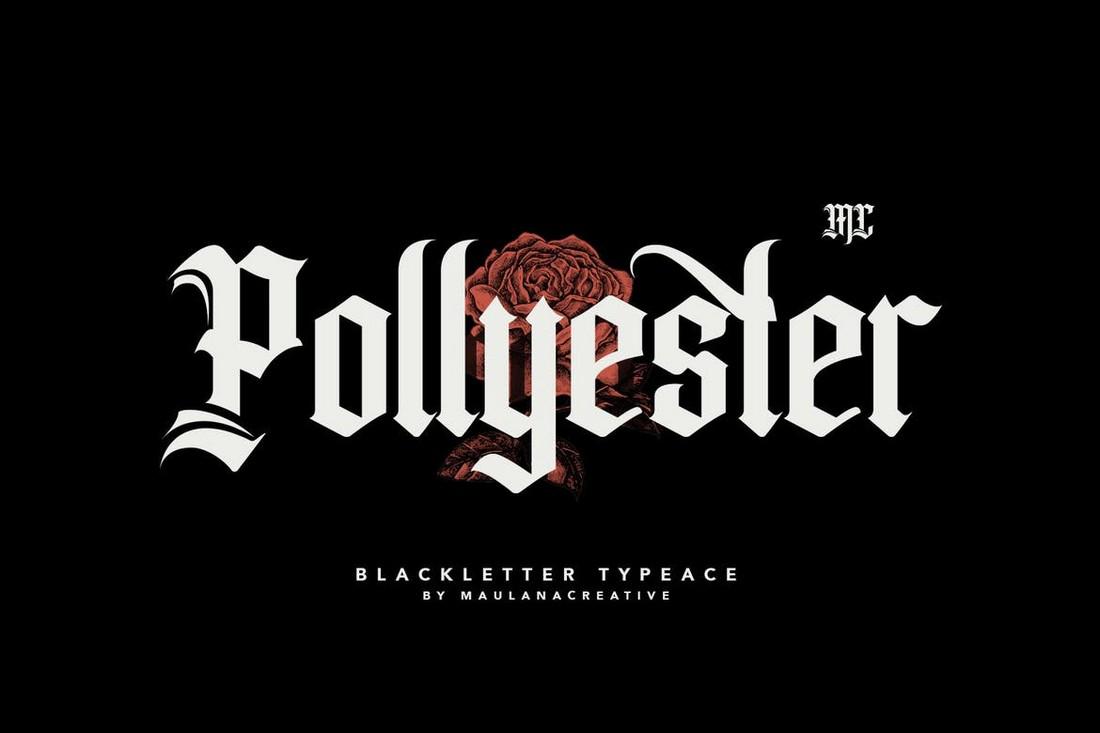Pollyester-Blackletter-Gothic-Font 40+ Best Gothic Fonts design tips