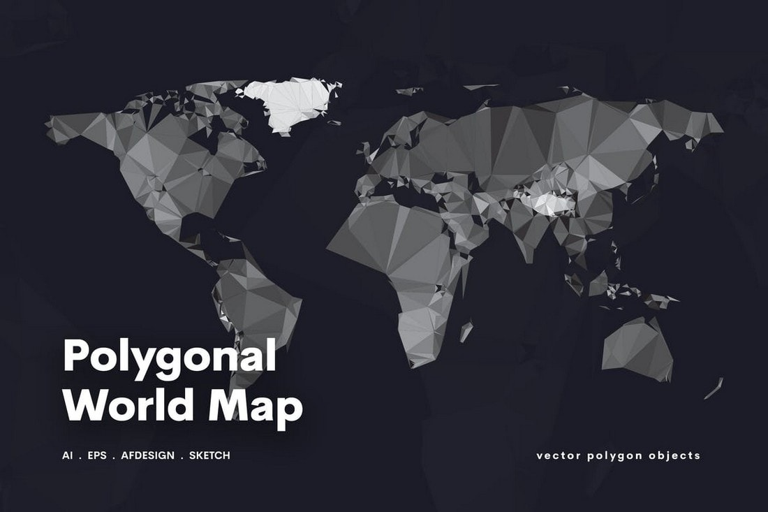 Polygonal World Map Affinity Designer Template
