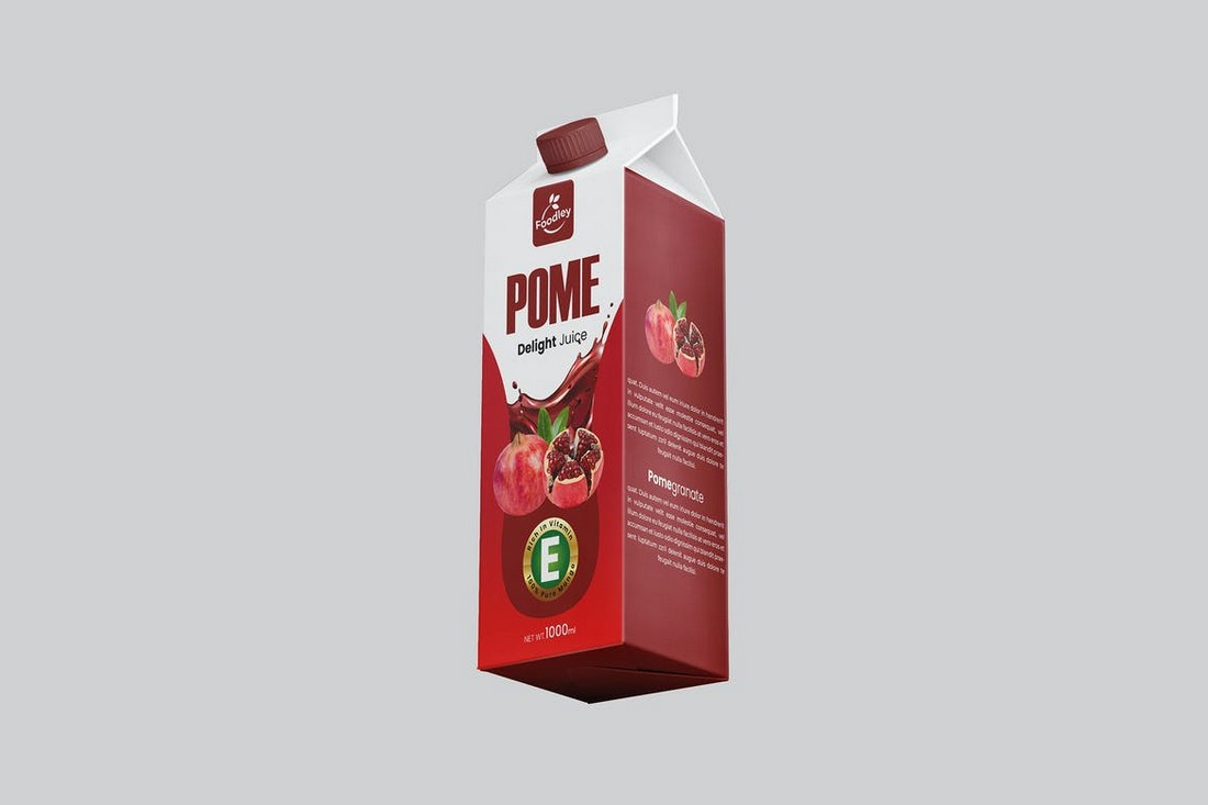 Pomegranate Juice Box Packaging Template