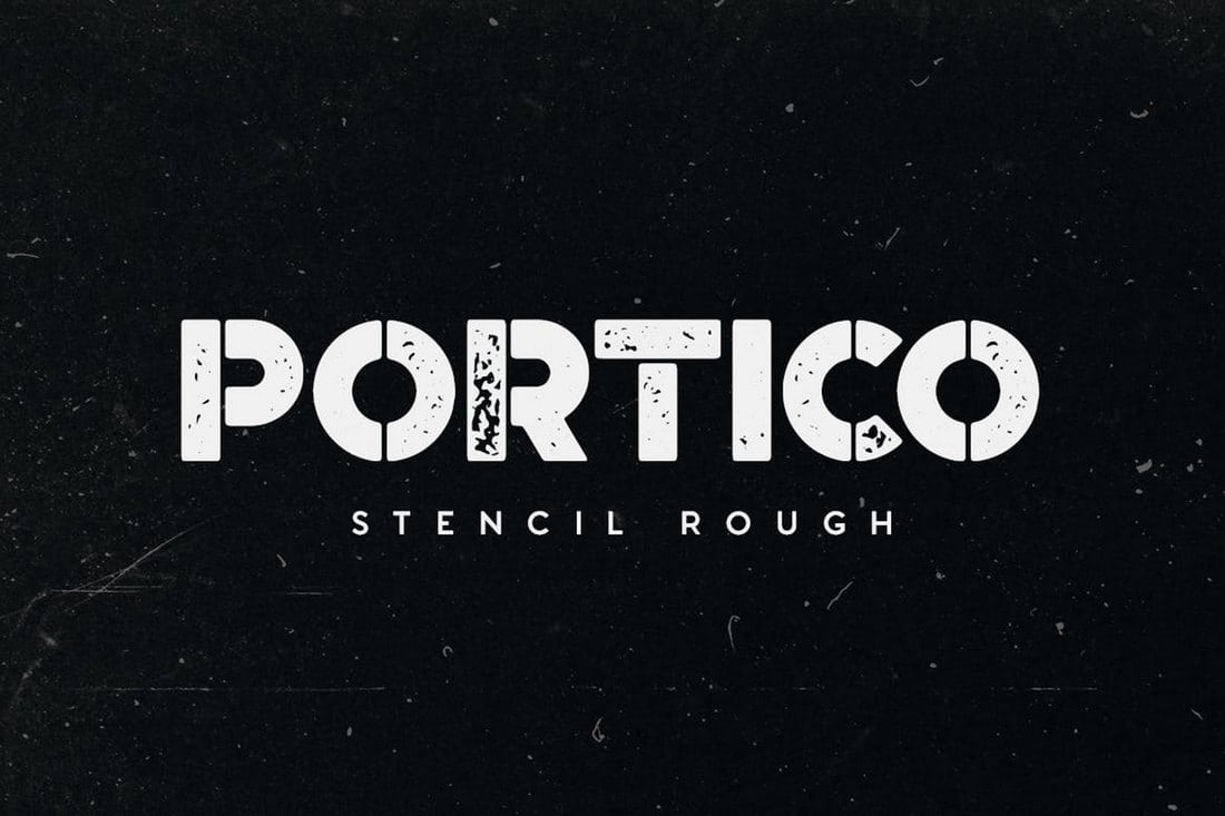 Portico-Stencil-Rough 30+ Best Stencil Fonts design tips