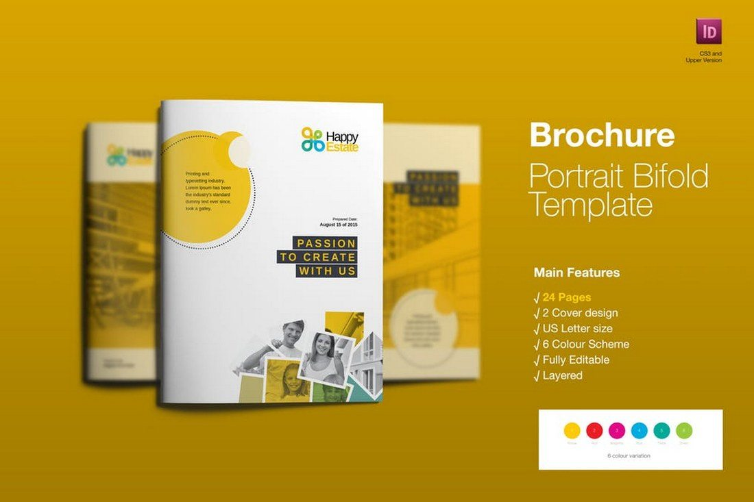 a print ready brochure template that comes with a colorful design thats perfect for creating a marketing or advertising related brochure