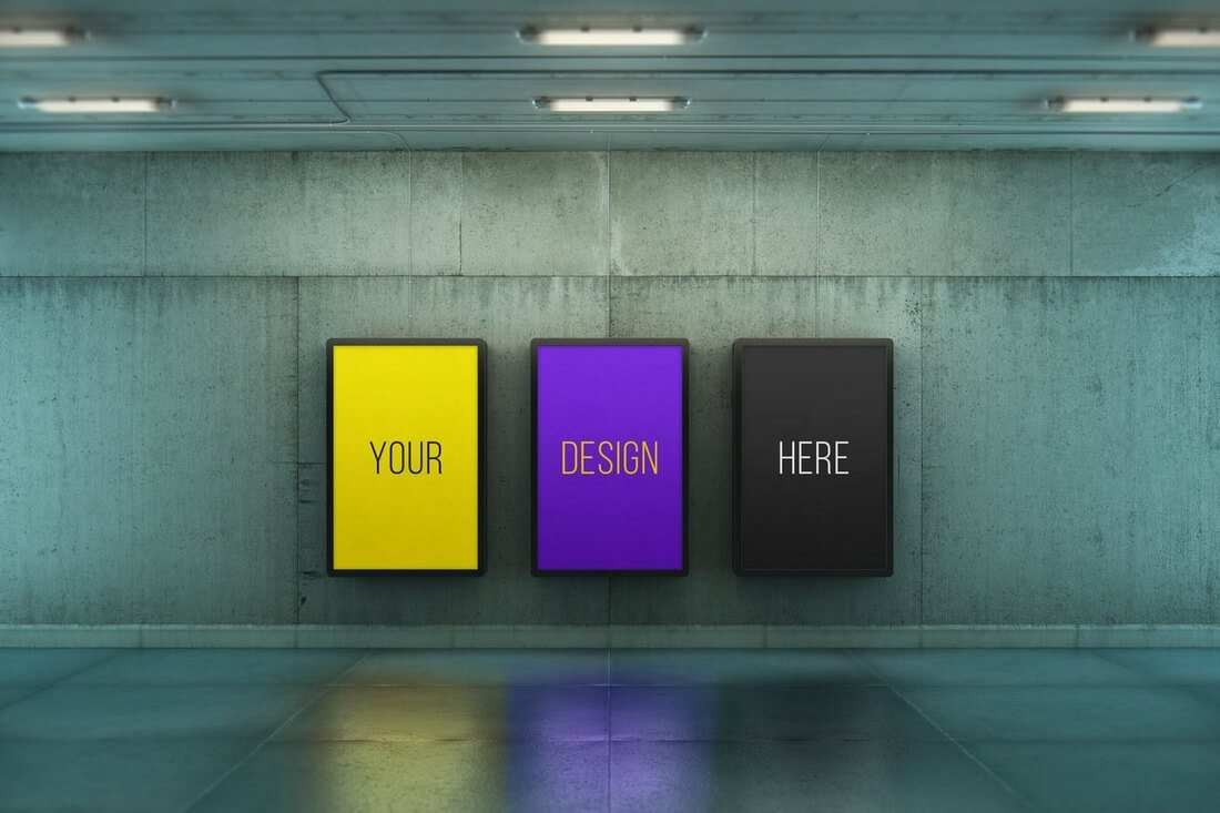 Poster-Urban-Subway-Lightbox-Mock-Ups 30+ Best Poster Mockup Templates 2021 design tips