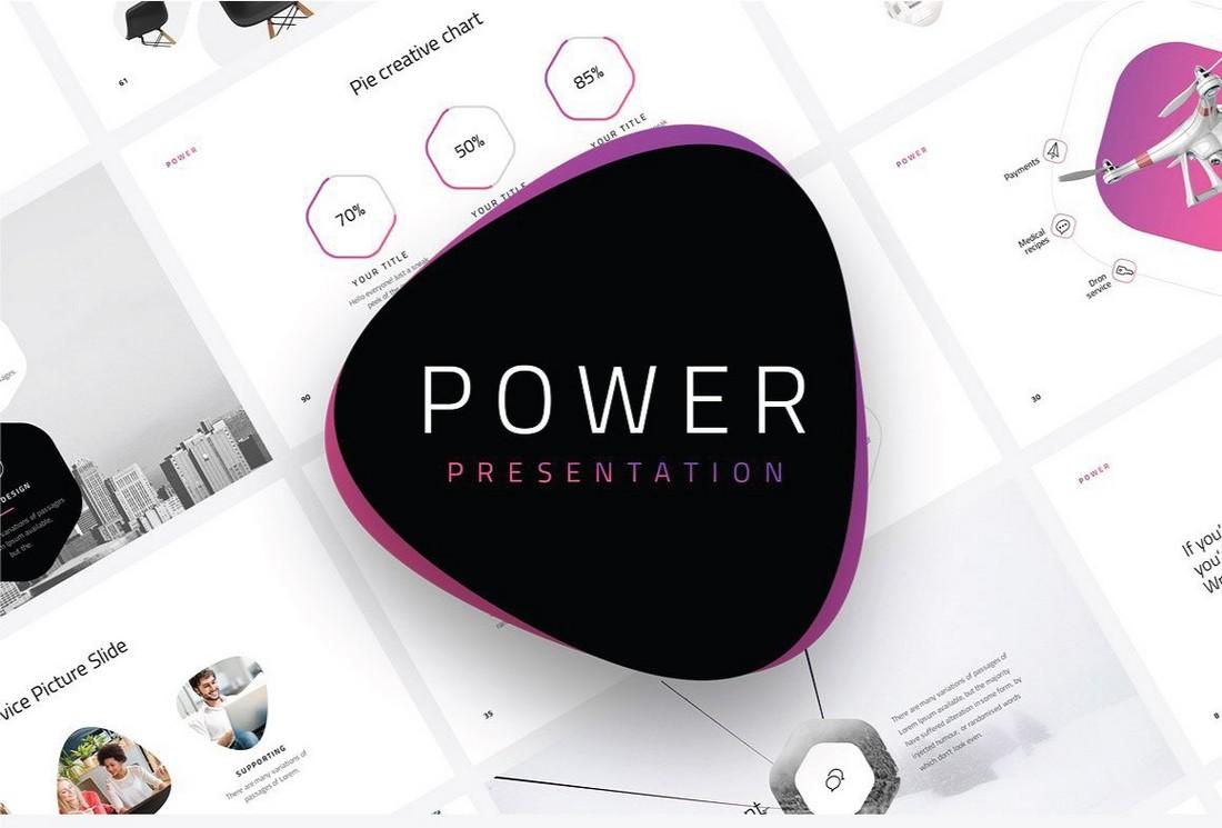 Power - Free Minimal Marketing PowerPoint Template