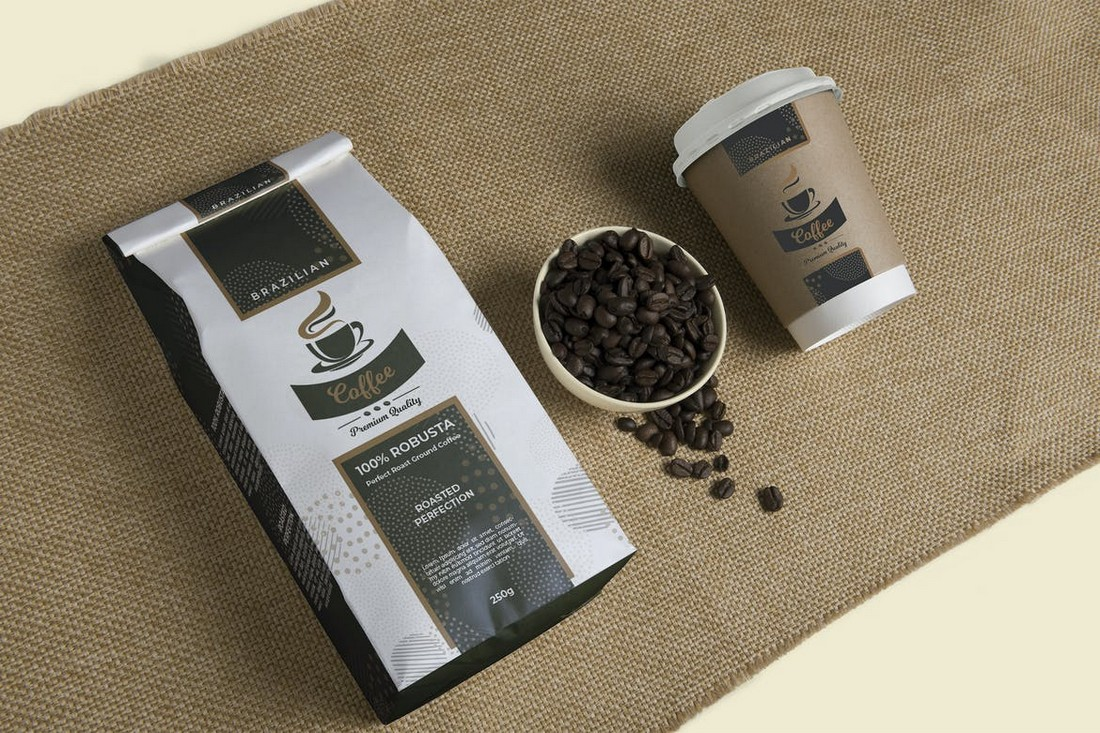 Premium Coffee Packaging & Cup Label Template