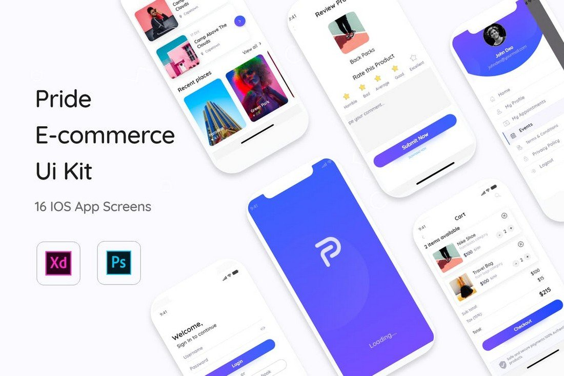 Pride E-Commerce App UI Kit Templates