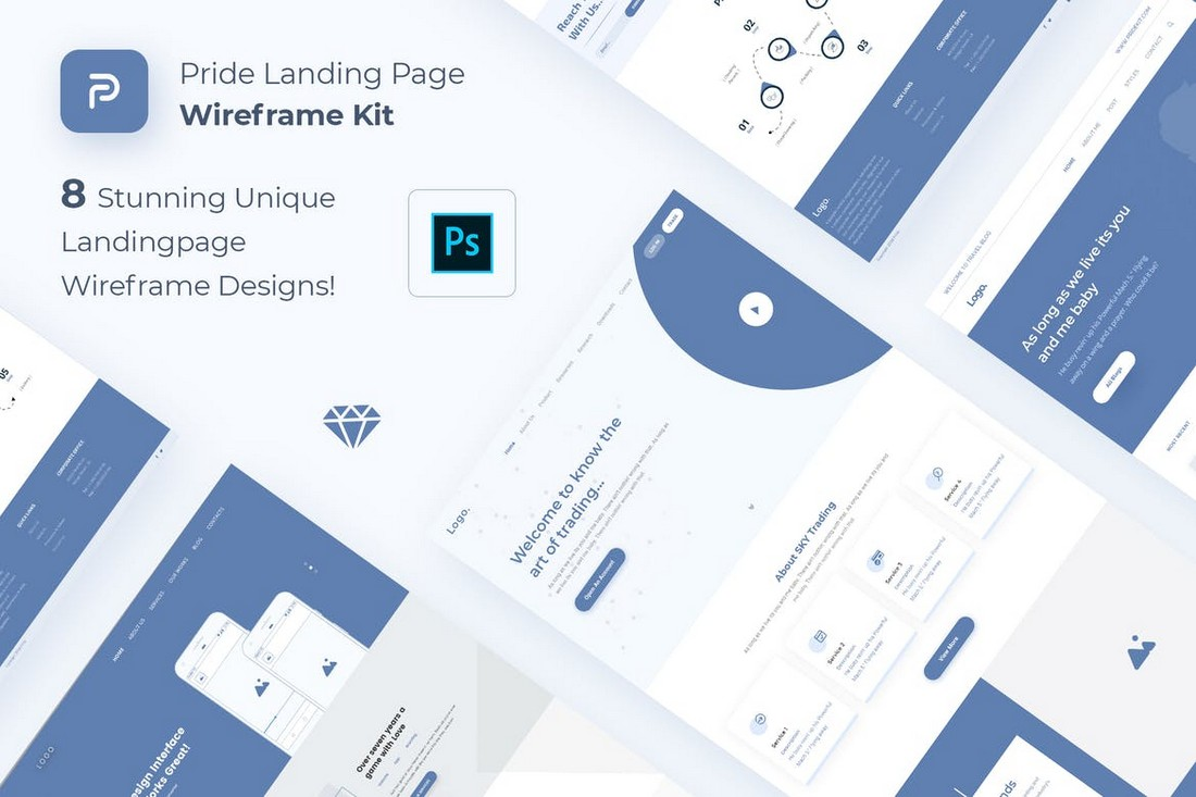 Pride - Landing Page Wireframe Kit for Photoshop