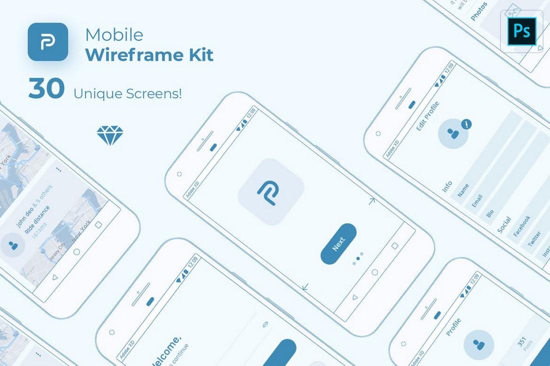 Pride - Minimal Mobile Wireframe Kit