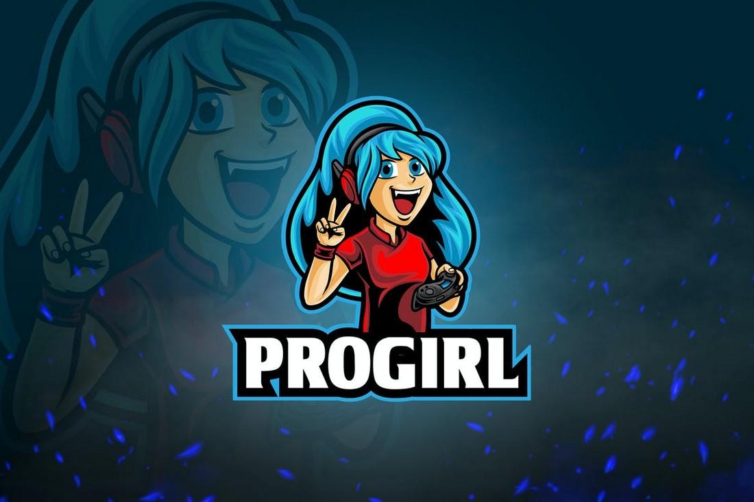ProGirl - Game Streamer Logo Template