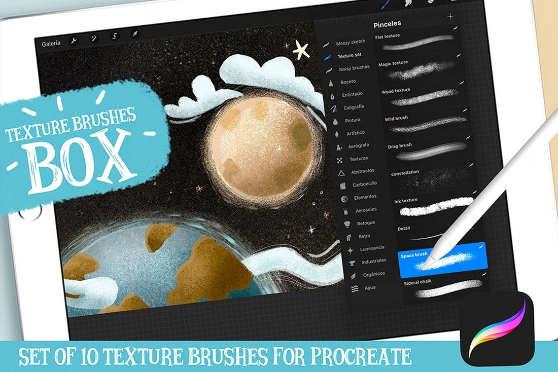 Procreate-Texture-Brushes-Box 30+ Best Procreate Brushes design tips
