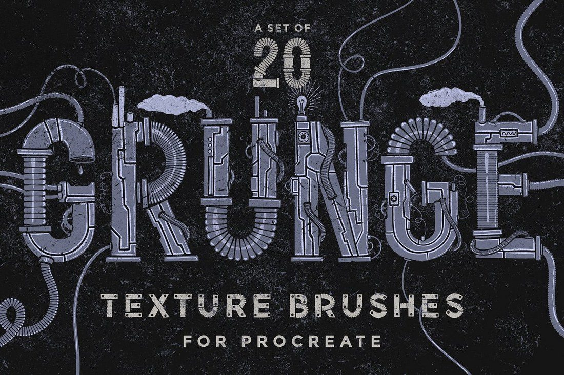 Procreate-grunge-texture-brushes 30+ Best Procreate Brushes design tips
