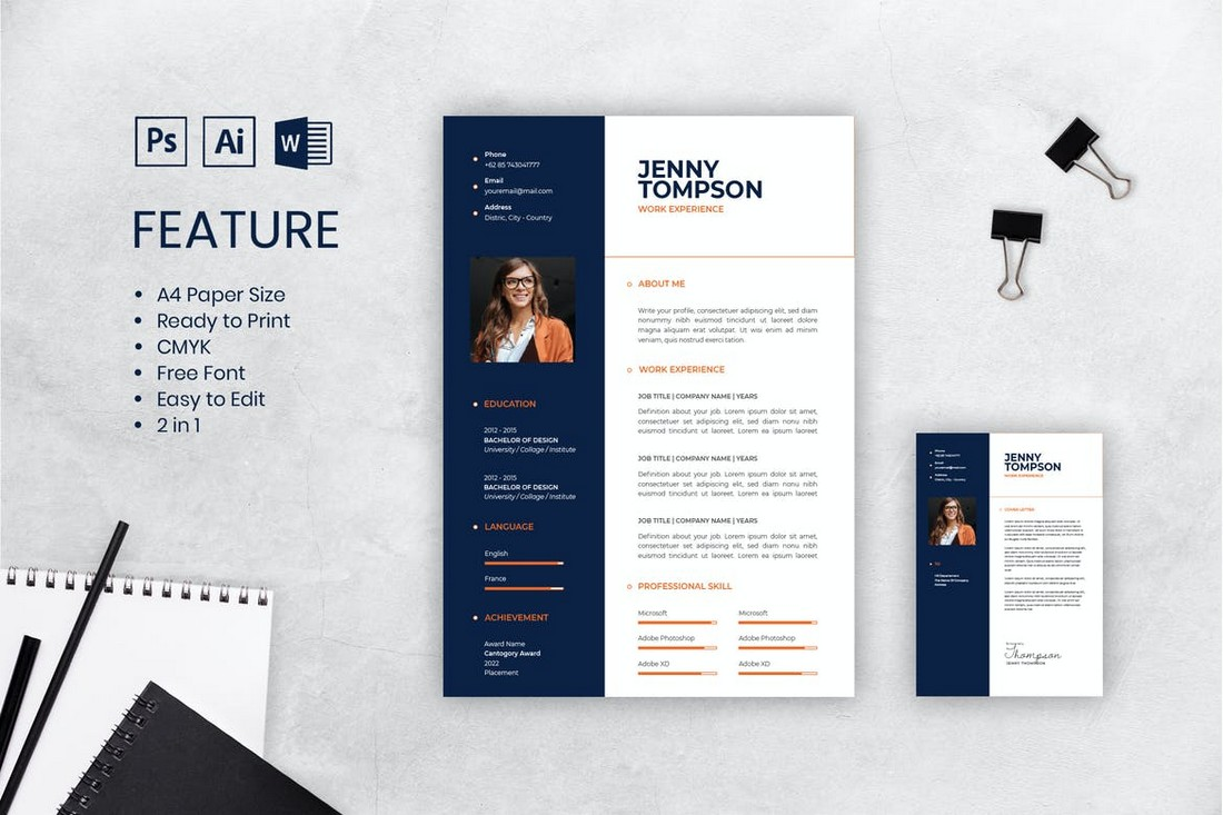 Professional-CV-Resume-Template-Word-PSD 50+ Best CV & Resume Templates 2020 design tips