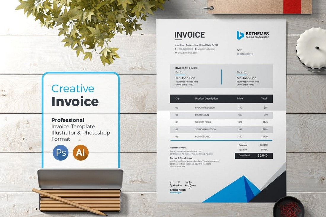 Professional-Invoice-Template-for-Creatives 20+ Best Invoice Templates for InDesign & Illustrator (Free + Premium) design tips  Inspiration