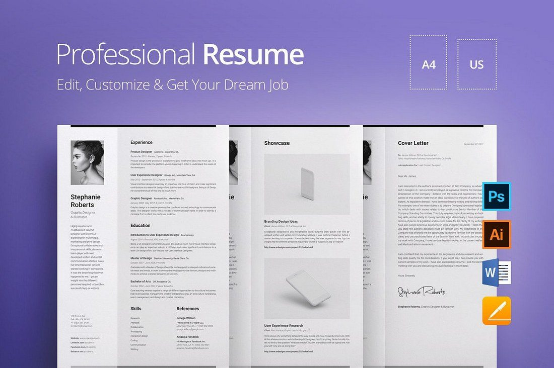Professional-Resume-Gray-Background 20+ Best Pages Resume & CV Templates design tips