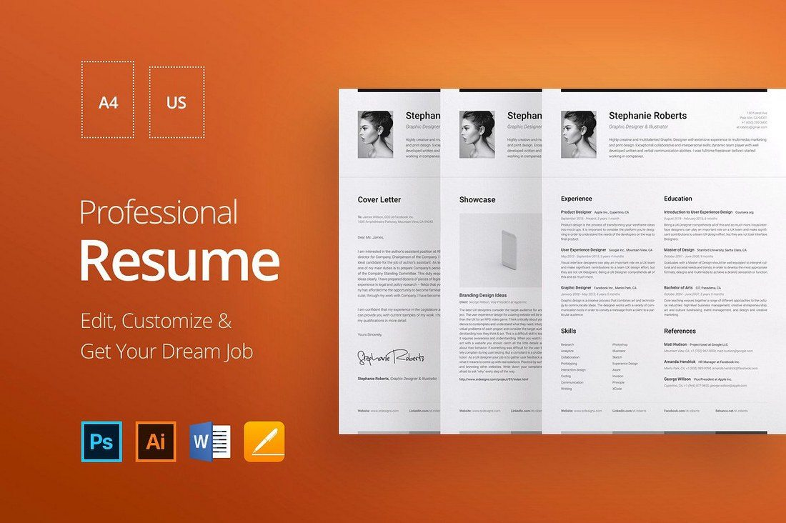 Professional-Resume-White-Background 20+ Best Pages Resume & CV Templates design tips