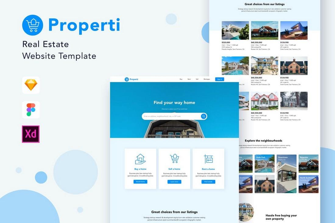 Properti - Real Estate Website Template for Adobe XD