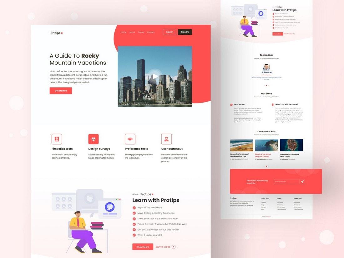 Protips - Free Sketch Landing Page Template