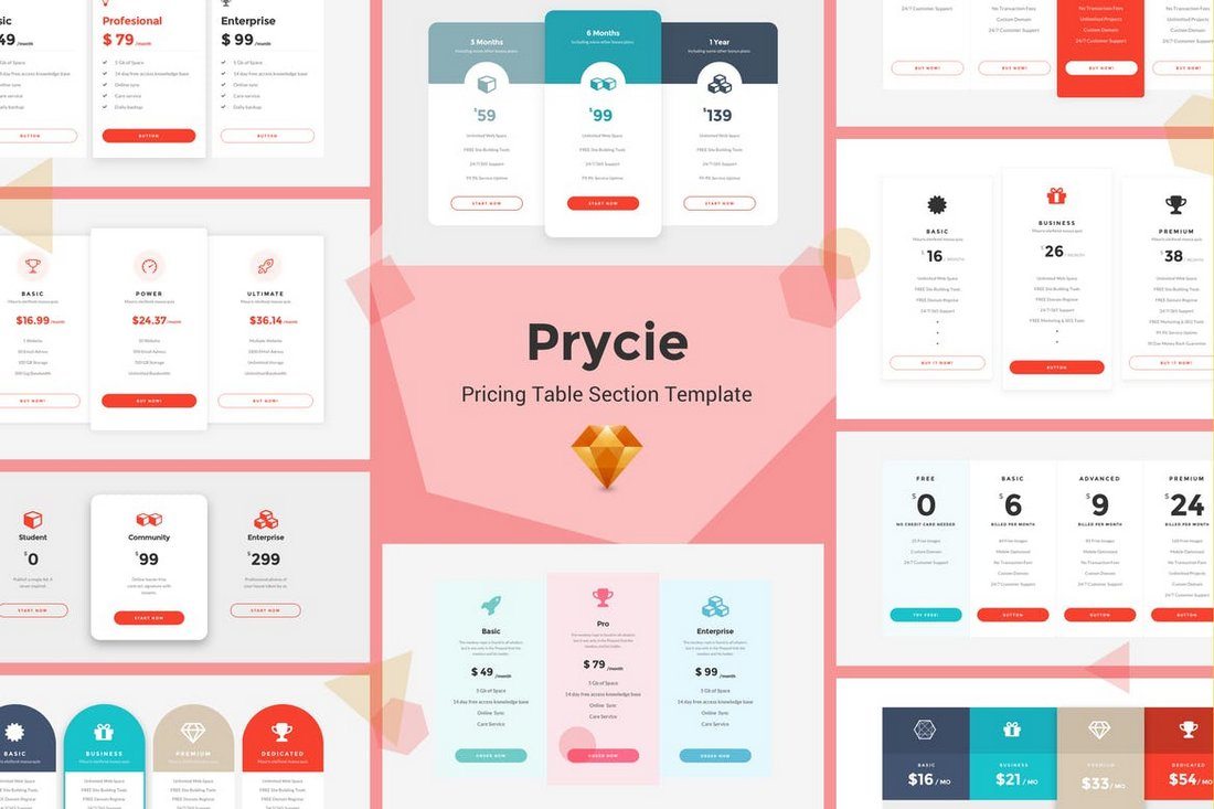 Prycie - Pricing Table UI Kit Template