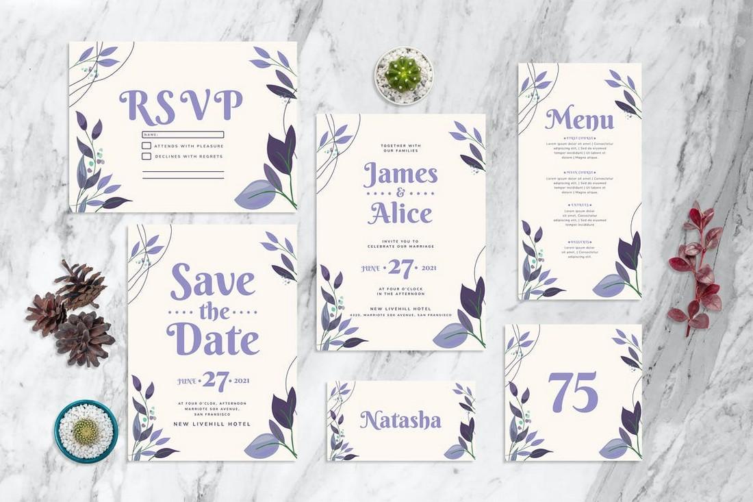 Purple Leaf - Wedding Invitation Templates