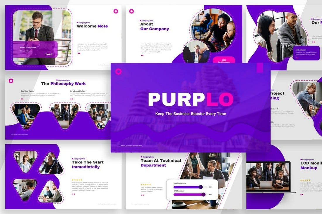 Purplo-Business-Profile-Powerpoint-Template 20+ Best Company Profile Templates (Word + PowerPoint) design tips  Inspiration|company profile