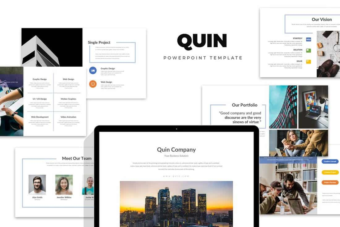 Quin-Clean-Minimal-Company-Profile-Powerpoint 20+ Best Company Profile Templates (Word + PowerPoint) design tips  Inspiration|company profile