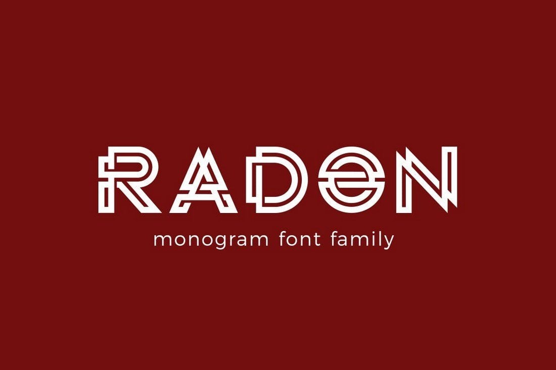 Radon Is A Monogram Font With Modern Design That Features Unique Look Thats Ideal For Crafting Logos And Titles In Websites Greeting Cards