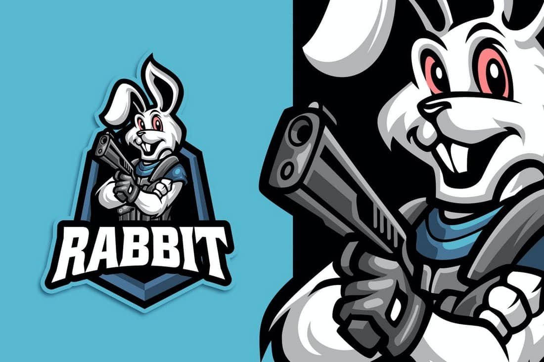 Rabbit Streamer and Esport Logo Template
