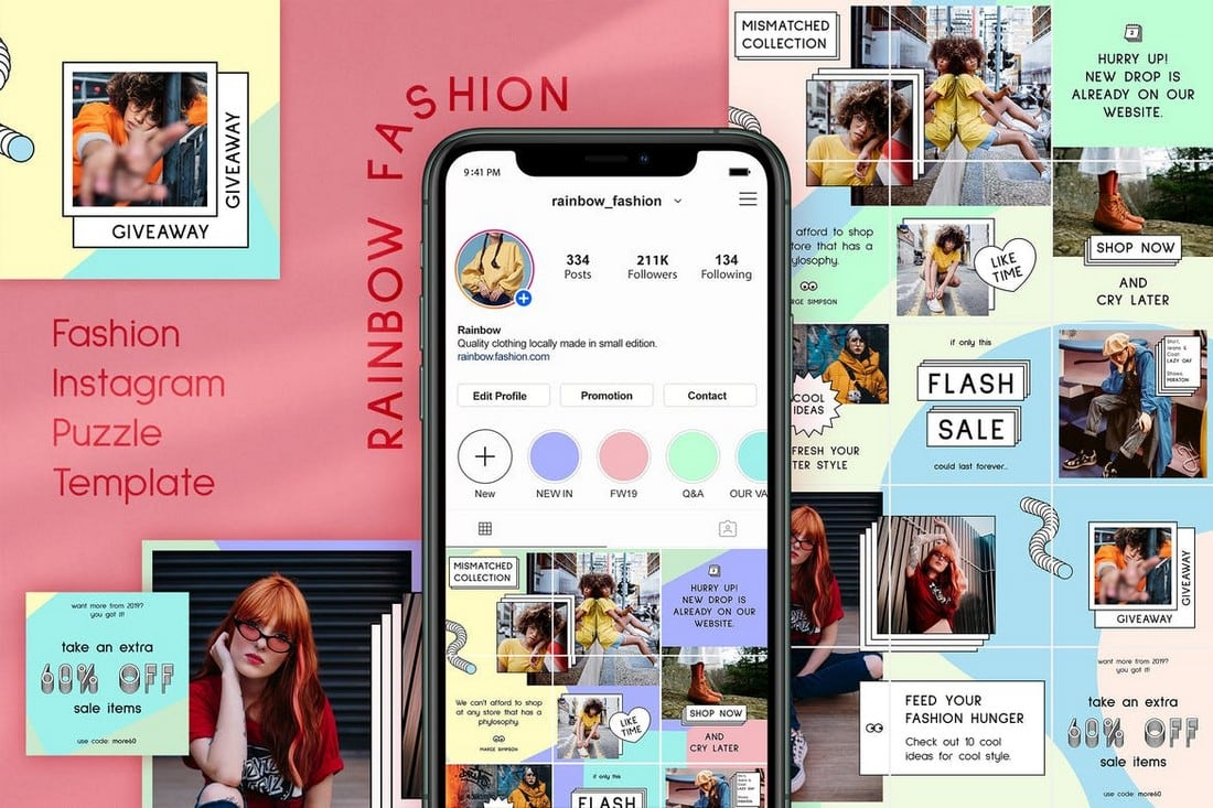Rainbow Fashion - Instagram Puzzle Feed Theme